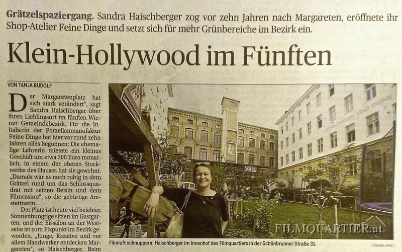 Artikel über das Filmquartier Wien in der Presse